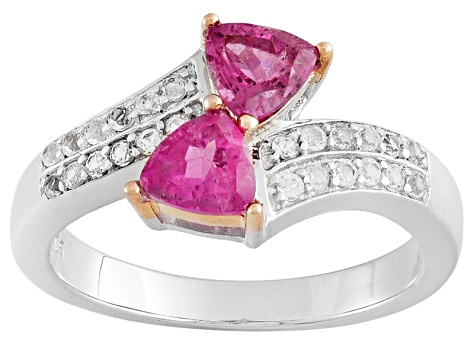 Pre-Owned Pink Tourmaline Sterling Silver Ring .84ctw