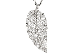 Pre-Owned White Cubic Zirconia Rhodium Over Silver Angel Wing Pendant With Chain 2.35ctw