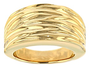 Pre-Owned 18k Yellow Gold Over Bronze Designer Cigar Band Ring
