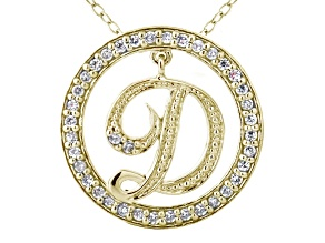 Pre-Owned Bella Luce ® 1.09ctw Round 18k Yellow Gold Over Sterling Silver initial D Pendant With 18