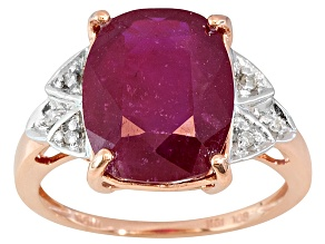 Pre-Owned Mahaleo Ruby With Diamond Accent 10k Rose Gold Ring 5.80ct