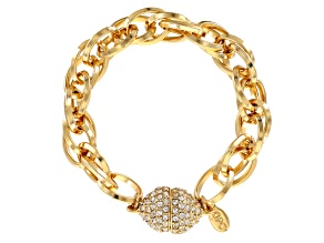 Pre-Owned White Crystal Gold Tone Beveled Twisted Rope Chain Bracelet