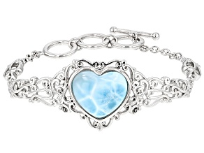 Pre-Owned Blue Larimar Sterling Silver Heart Bracelet