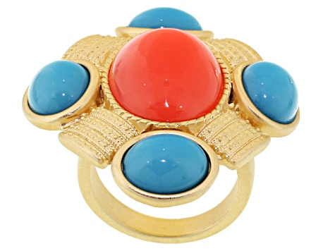 Pre-Owned Imitation Coral Imitation Turquoise Gold Tone Ring