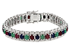 Pre-Owned Multi-gem rhodium over silver bracelet 14.35ctw