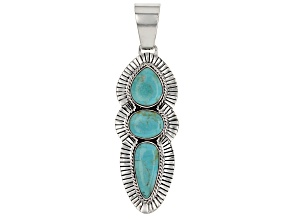 Pre-Owned Turquoise Kingman Sterling Silver Pendant