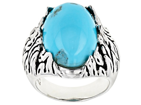 Pre-Owned Blue Kingman Turquoise Sterling Silver Ring