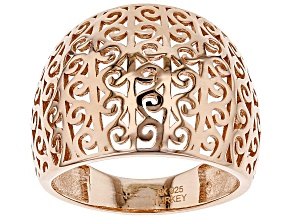 Pre-Owned 18K Rose Gold Over Sterling Silver Scroll Design Wide Band Ring