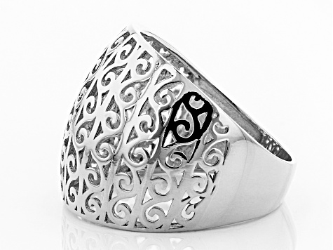 Pre-Owned Sterling Silver Scroll Design Wide Band Ring