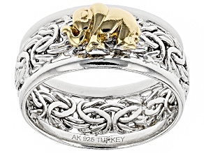 Pre-Owned Sterling Silver And 18K Yellow Gold Over Sterling Silver Elephant Byzantine Wide Band Ring