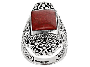 Pre-Owned Red Indonesian Coral Silver Ring