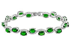 Pre-Owned Green Russian Chrome Diopside Sterling Silver Bracelet 14.79ctw