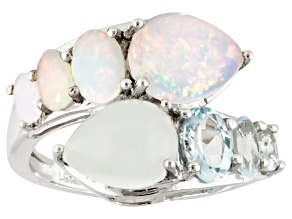 Pre-Owned Ethiopian Opal Sterling Silver Bypass Ring 3.82ctw