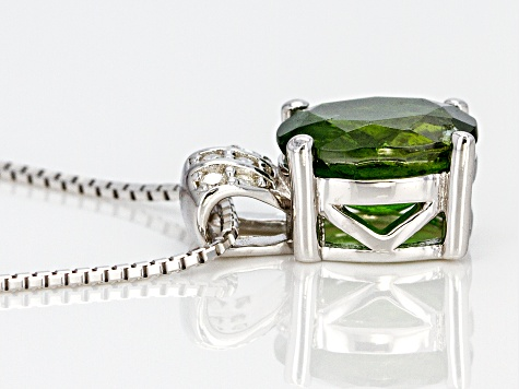 Pre-Owned Green Russian Chrome Diopside Rhodium Over Sterling Silver Pendant With Chain 1.71ctw