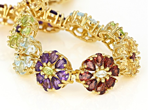 Pre-Owned Multi-Gem 18k Gold Over Silver Floral Bracelet 12.08ctw