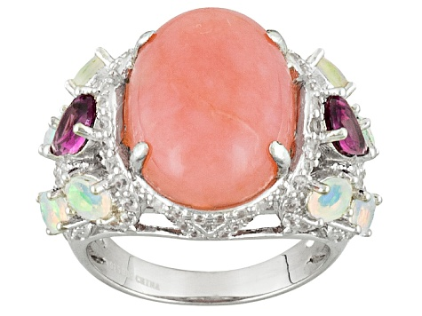 Pre-Owned Pink Peruvian Opal Sterling Silver Ring 2.22ctw