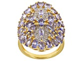 Pre-Owned Blue tanzanite 18k yellow gold over sterling silver ring 3.71ctw