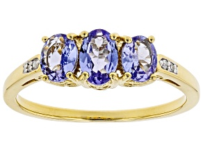 Pre-Owned Blue tanzanite 18k yellow gold over sterling silver ring 0.96ctw