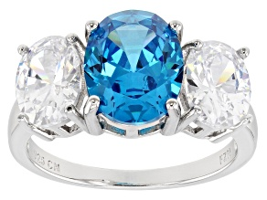 Pre-Owned Blue And White Cubic Zirconia Rhodium Over Sterling Silver Ring 8.01ctw