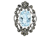 Pre-Owned Sky Blue Topaz rhodium over sterling silver ring 6.33ct