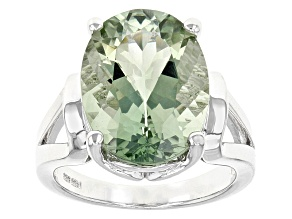 Pre-Owned Green Prasiolite Sterling Silver Solitaire Ring 7.27ct