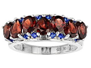 Pre-Owned Red garnet rhodium over silver ring 2.84ctw