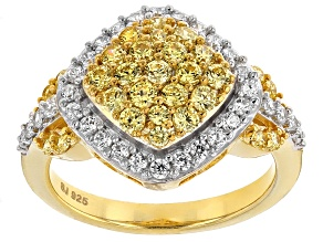 Pre-Owned Yellow And White Cubic Zirconia 18k Yellow Gold Over Silver Ring 2.42ctw (.99ctw DEW)
