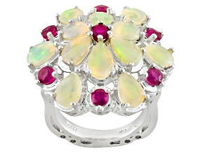 Pre-Owned Ethiopian Opal Sterling Silver Ring. 4.05ctw