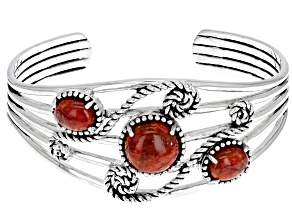Pre-Owned Red Sponge Coral Sterling Silver Cuff Bracelet