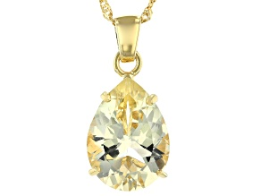 Pre-Owned Yellow Labradorite 18k Gold Over Silver Pendant With Chain 8.36ct