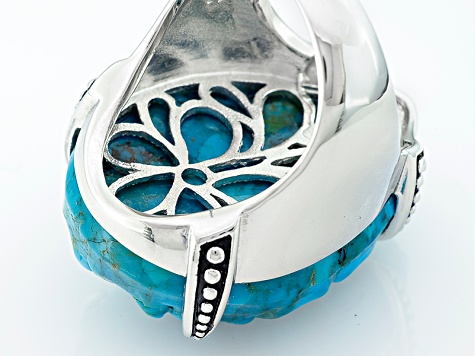 Pre-Owned Blue Carved Turquoise Silver Ring