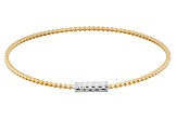 Pre-Owned 18k Yellow Gold Over Silver & Rhodium Over Silver Bangle Bracelet 8 inch