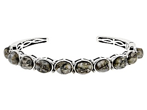 Pre-Owned Golden Pyrite Sterling Silver Cuff Bracelet