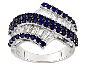 Pre-Owned Blue And White Cubic Zirconia Rhodium Over Sterling Silver Ring 4.12ctw