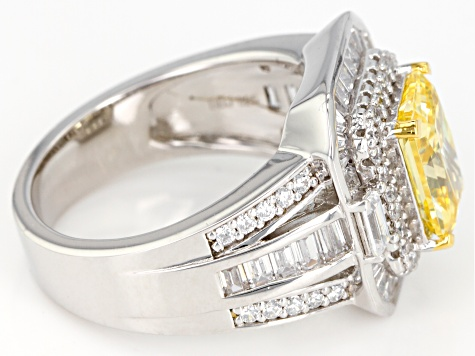 Pre-Owned Yellow & White Cubic Zirconia Rhodium Over Sterling Silver Center Design Ring 6.30ctw