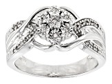 Pre-Owned White Diamond Rhodium Over Sterling Silver Ring .10ctw