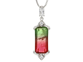 Pre-Owned Watermelon Tourmaline Simulant & White Cubic Zirconia Rhodium Over Silver Pendant  6.26ctw