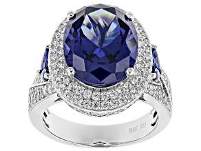 Pre-Owned Blue & White Cubic Zirconia Rhodium Over Sterling Silver Ring 11.36ctw
