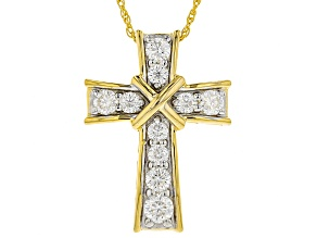 Pre-Owned Moissanite 14k Yellow Gold Over Silver Pendant .86ctw DEW.