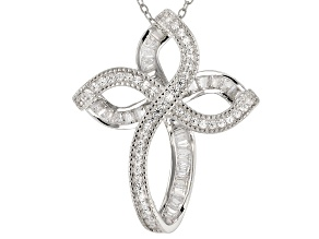 Pre-Owned white cubic zirconia rhodium over sterling silver pendant with chain 1.88ctw