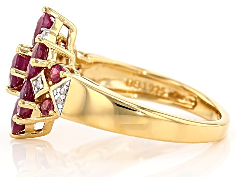Pre-Owned Red ruby 18k gold over silver ring 1.68ctw