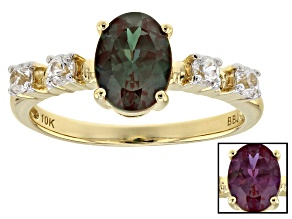 Pre-Owned Color Change Lab Created Alexandrite 10k Yellow Gold Ring 1.57ctw