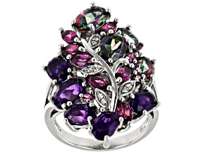 Pre-Owned Purple Amethyst Rhodium Over Silver Ring 6.05ctw
