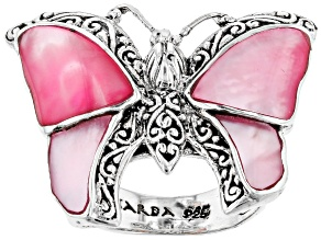 Pre-Owned Pink Mother Of Pearl Sterling Silver Butterfly Ring