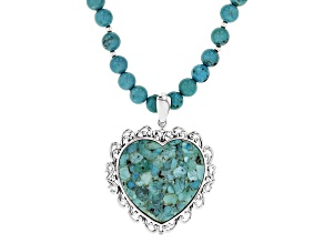 Pre-Owned Blue Turquoise Sterling Silver Necklace With Enhancer