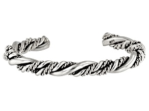 Pre-Owned Sterling Silver Twisted Cable Cuff Bracelet