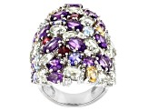 Pre-Owned Multicolor Gems Rhodium Over Sterling Silver Ring 16.73ctw