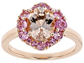 Pre-Owned Pink morganite 18k rose gold over silver ring 1.98ctw