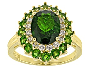 Pre-Owned Green chrome diopside 18k gold over silver ring 4.51ctw