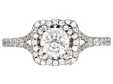 Pre-Owned White Cubic Zirconia Rhodium Over Sterling Silver Center Design Ring 3.81ctw